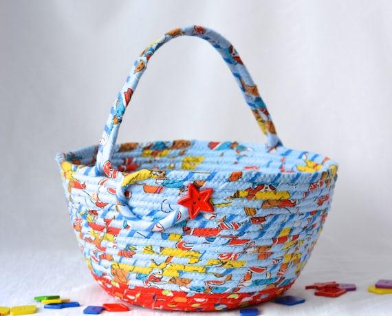 Boy Storage Basket, Handmade Easter Boy Bucket, Lego Storage, Puzzle Bin, Boys Toy Storage Basket, Baby First Easter Basket