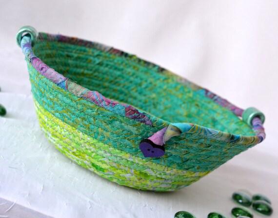 Spring Greenery Bowl, Handmade Batik Basket, Decorative Basket, Lovely Gift Basket, Green Catchall Basket, Yarn Bowl, Ring Holder
