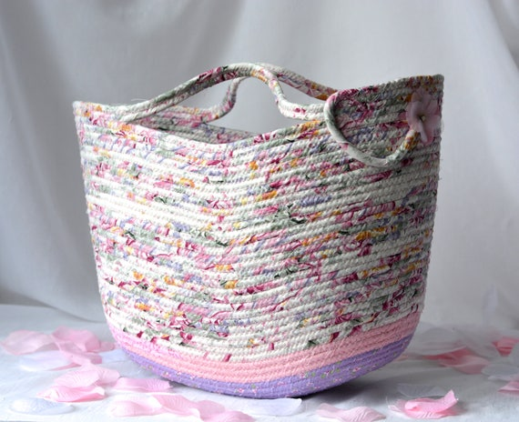 Shabby Chic Tote Bag, Handmade Moses Basket, Lovely Pink Storage Organizer, Pink Beach Bag, Picnic Basket, Gift Basket