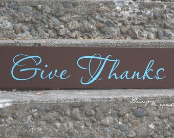 Ready to ship - GIVE THANKS sign - Thanksgiving sign - Custom Sign - Custom Made Wood Sign, Thanksgiving wood sign