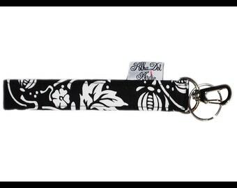 Black & White Vine ,Key Wristlet , Key Fob, Swivel Hook, Key Chain