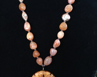 Genuine Carnelian Gemstones and Cooper Beads,  Stone Carved Pendant  Necklace