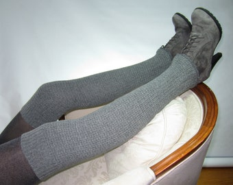 Tall Thick Nubby Sweater Knit Leg warmer Thigh Highs Gray Over the Knee Boot Sock Grey A1558