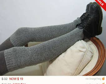 Sale -  Thigh High Boot Socks Leg Warmer Over the Knee Knit Boot Sock Gray White Sweater Knit A1221