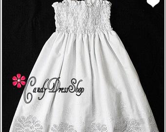 Beach flower girl dress, Beach wedding flower girl dress, white summer dress for girls, white party dress, white eyelet dress, white dress