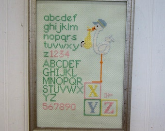 Vintage Handmade Baby Nursery Stork ABC Cross Stitch Sampler Nursery Decor