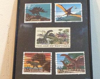 "Dinosaur - Recycled Postage Stamp Framed Art 4""x6"", 4x6, trex, stegosaurus, brontosaurus, reptiles, dinosore, pterodactyl, teradactil"