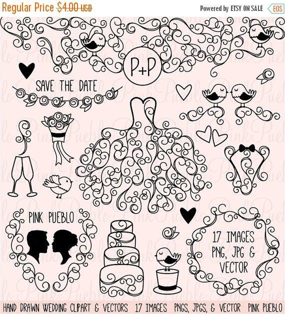 TEACHER SALE Hand Drawn Wedding Clip Art Clipart, Wedding Silhouettes Clip Art Clipart Vectors - Commercial and Personal