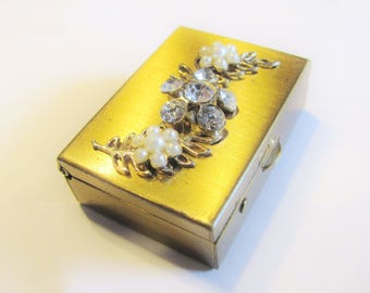 Pill Box Gold Metal With Rhinestones And Faux Pearls With Mechanical Closure