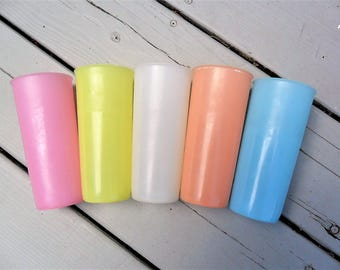 Vintage Tupperware Tumblers Set of Five Pastels 12 Oz 1960s Tupperware Glasses