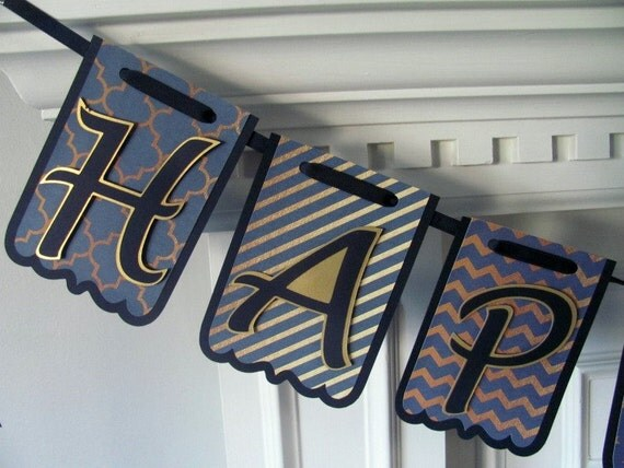 Happy Birthday Banner, Navy and Gold Birthday Banner, Adult Birthday Banner