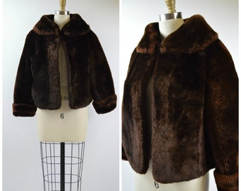 Vintage Mouton Fur Jacket Size Small Cropped Jacket with Large Collar Nice Condition Warm Winter Fur Coat 1950s