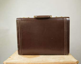 Vintage Valise Leather Briefcase Sturdy Case Dark Brown Leather Distressed BriefCase Leather Handle Gold Hardware Large Attache