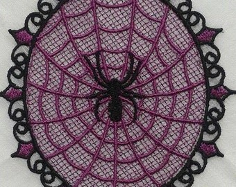 UK Black on purple gothic lace spider web applique, trimming, choker centerpiece,fascinator, wedding