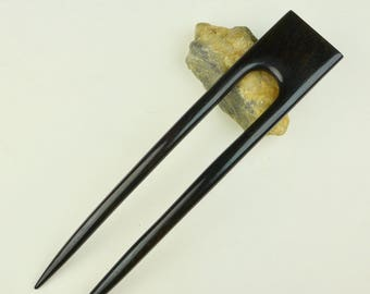 Reserved for Janda Four Prong Hair fork made from Gaboon Ebony Wood - Handmade