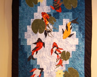 SALE, Art Quilt, Koi Fish Wall Hanging, Koi Series #3