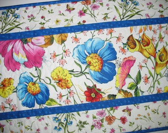 Floral Table Runner, Easter, quilted, Summer, table linens, fabric from Fabri-Quilt