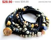 Holiday Sale! Midnight wrap bracelet, beaded, crochet boho bracelet, bohemian jewelry, crochet jewelry, fall fashion, ooak, coffycrochet,...