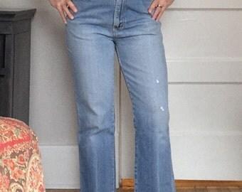 Vintage 80s 90s Revival Grunge STRAIGHT Skinny Medium Blue Cropped Giano Raw Hem Denim Festival MoM Ankle Jeans  W 27