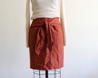 """Vintage Tie Front Skirt / Made in Italy / High Waisted / 27"""" waist"""
