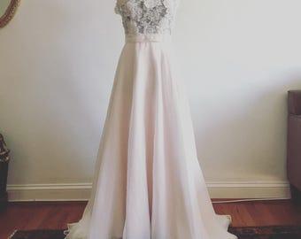 Darling-blush chiffon skirt-made to order-wedding skirt-nude champagne skirt-bridal skirt