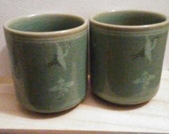 Korean Flying Crane Porcelain Saki Cups