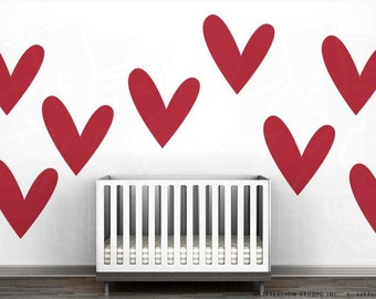 So Much Love Monochromatic Wall Decal Mural by LittleLion Studio - Big Red Heart Decal, Large Heart Wall Decal Mural