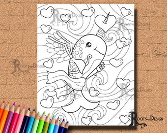 INSTANT DOWNLOAD Cupid Narwhal Page Print, doodle art, printable Valentine Page