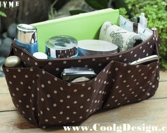Handbag organizer insert practical and Easy to Use brown polka dots Medium and large