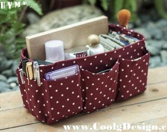 Purse ORGANIZER Insert, Bag and Handbag Organizer, Extra Sturdy / Burgundy polka dots / Medium 22x8cm