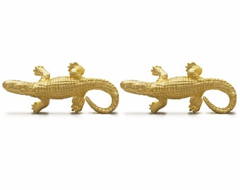 Yellow Gold Alligator Cufflinks Gator Crocodile Cuff Links