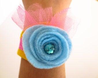 Felt Bracelet / Blue Flower with Jewel / Jewelry Accessories for Girls / Kids