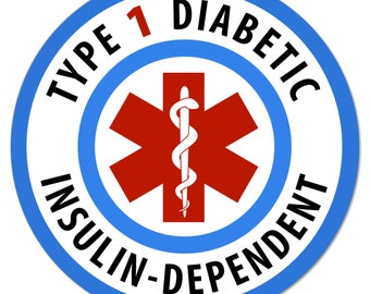 "Medical Alert Type 1 Diabetic Insulin Dependent 4"" Round Window or Bumper Sticker"