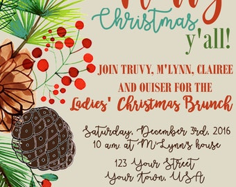 personalized Christmas Party Invitation-Christmas Card-Brunch Invite, pine/holly, Merry Christmas Y'all - southern charm
