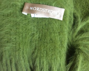 AnGora scarf nordstroms 80s Green with fringe