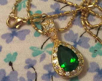 Pave crystal necklace 18 karat gold plate Green &  clear rhinestone