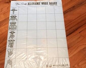 Vintage Macrame Work Board Fibre Craft 70s Hippie Crafts Groovy Cork