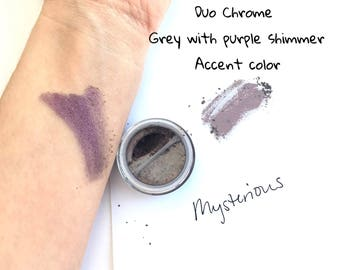 Mysterious Purple Grey Eye Shadow - Mineral Eye Shadow Natural Duo Chrome Eye Makeup - Plum Silver Eye Color Sparkle