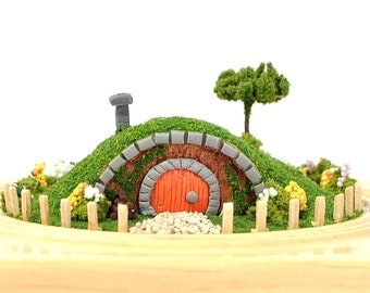 House under the hill - Hobbit House Mini Garden Hobbit Garden Handmade Diorama Fairy House Fairy Garden by A Garden to Treasure