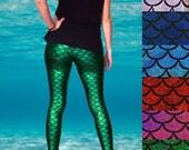 Shiny Colourful Mermaid Fish Scale Leggings - Pre-Order
