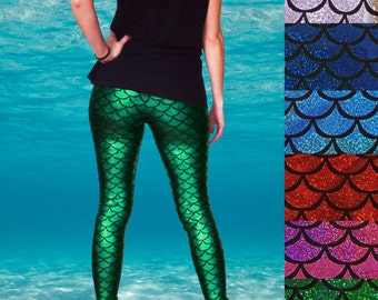 Shiny Colourful Mermaid Fish Scale Leggings - Pre-Order