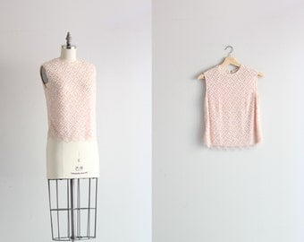 Vintage 50s Sequined Shell . Pink Beaded Blouse . 1950s Womens Vintage Blouse