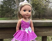 Reserved for Sandra 14.5 Inch Doll Clothes Fuscia Polka Dot and Flowered Sundress with Headband for dolls like Wellie Wishers