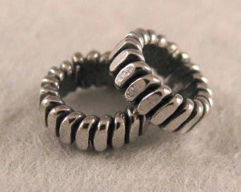 Rustic Large Hole 6mm Inner Diameter - Oxidized Spacer Beads in Sterling Silver - 5.7mm x 2mm - 10 Pcs L83