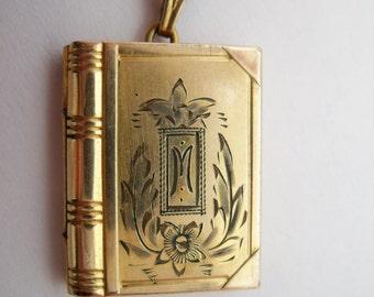 Vintage book style locket marked M