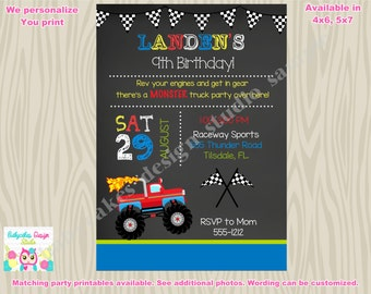 Monster Truck Birthday invitation monster truck invitation monster truck party invitation invite printable DIY