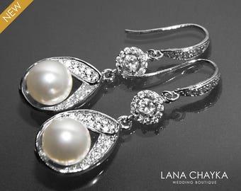 Bridal White Pearl CZ Chandelier Earrings Swarovski White Pearl Wedding Earrings Bridal Pearl Silver Earrings Dangle Earrings Prom Jewelry