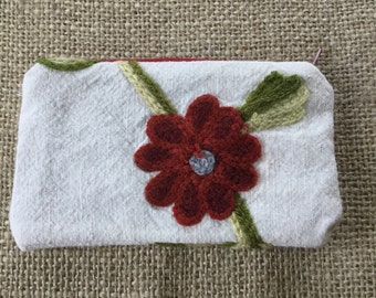 "3"" x 5"" Embroidered pouch with dark blue lining."
