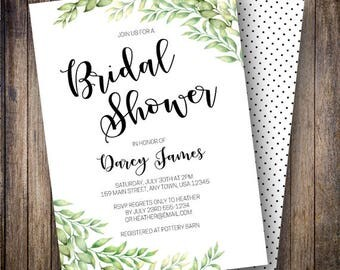Greenery Bridal Shower, Rustic Bridal Shower Invite, Watercolor Leaves, Bohemian Wedding Shower, Minimalist, Green, Black, 904