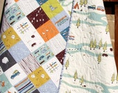 Toddler Quilt, Organic, Baby, Camp Sur Camping Outdoors Hiking Canoeing, Unisex Boy Girl Blanket, Bears Fox Fish, Modern Forest Woodland